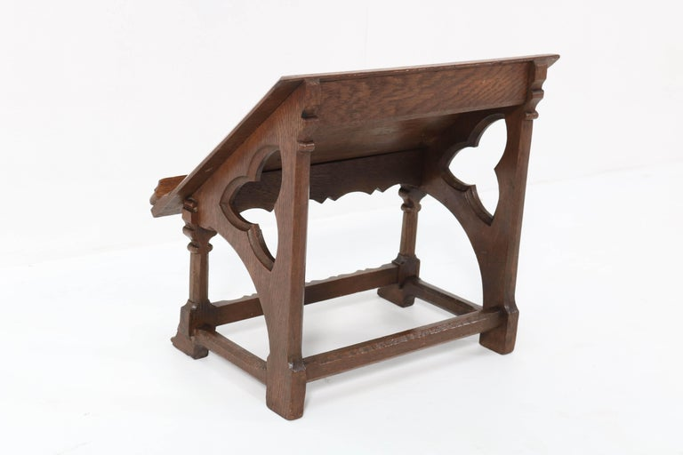 Early 20th Century Oak Gothic Revival Lectern or Book Stand, 1900s For Sale