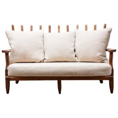 Oak Gran Repos Settee by Guillerme et Chambron for Votre Maison