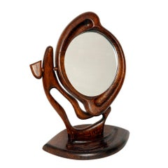Oak Handmade Mirror, in the Art Nouveau Style, Poland, 1980s