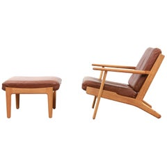 Oak Hans J Wegner GE-290 Leather Lounge Chair with Ottoman for GETAMA, 1960s