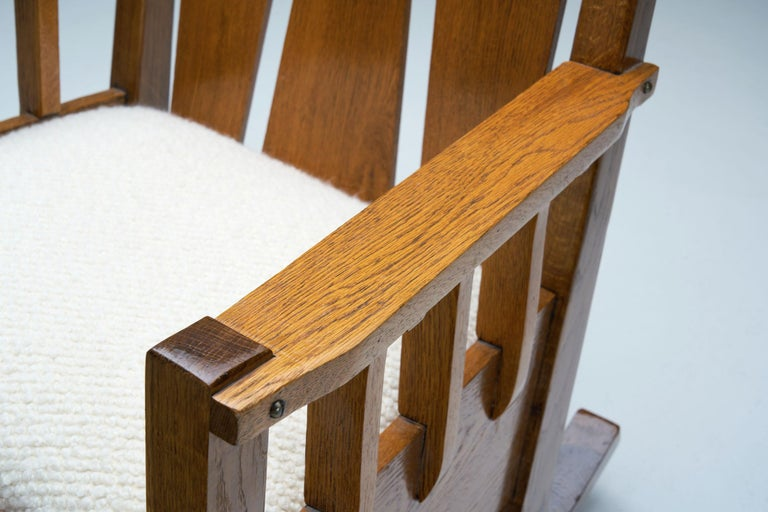 """Oak """"Jugend"""" Rocking Chair, Europe, circa 1920s For Sale 5"""