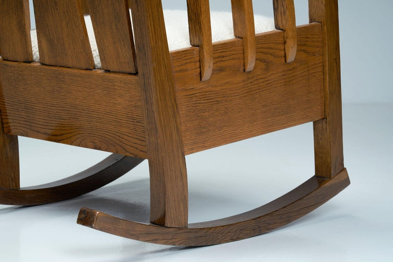 """Oak """"Jugend"""" Rocking Chair, Europe, circa 1920s For Sale 6"""