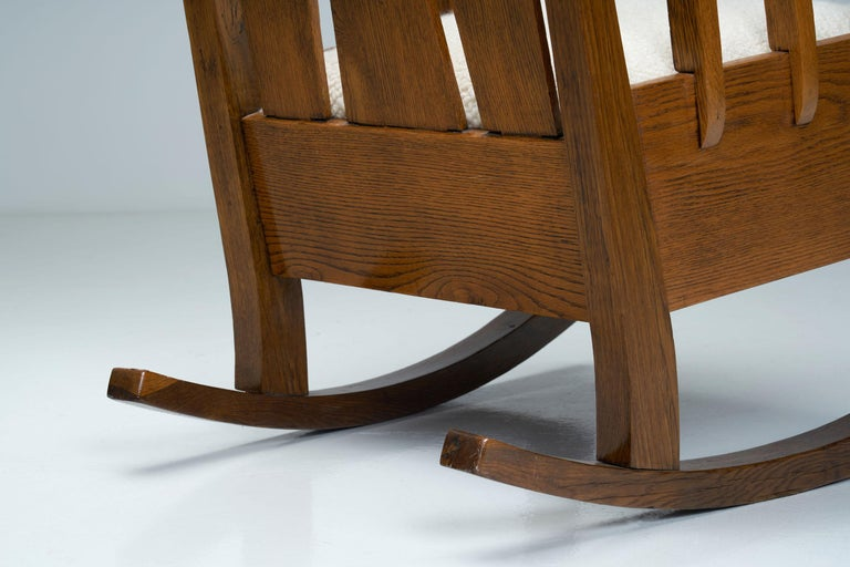 """Oak """"Jugend"""" Rocking Chair, Europe, circa 1920s For Sale 7"""