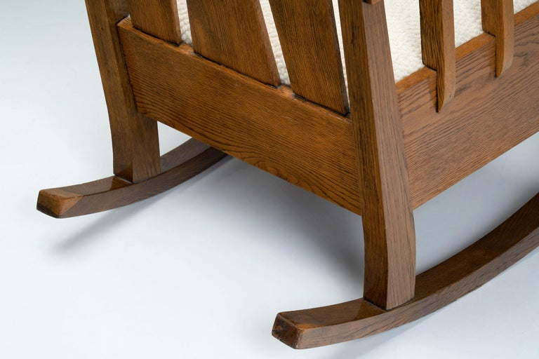 """Oak """"Jugend"""" Rocking Chair, Europe, circa 1920s For Sale 8"""