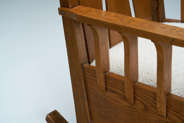 """Oak """"Jugend"""" Rocking Chair, Europe, circa 1920s For Sale 10"""