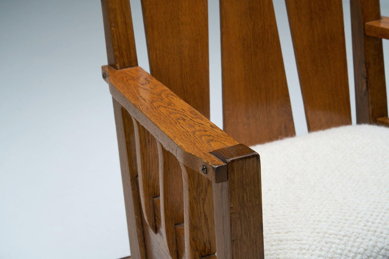 """Oak """"Jugend"""" Rocking Chair, Europe, circa 1920s For Sale 12"""