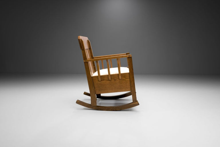 """Jugendstil Oak """"Jugend"""" Rocking Chair, Europe, circa 1920s For Sale"""