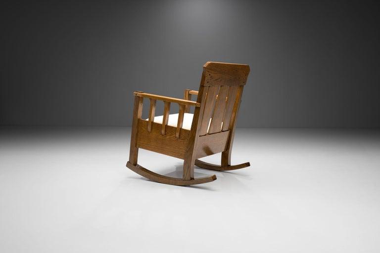 "European Oak ""Jugend"" Rocking Chair, Europe, circa 1920s For Sale"