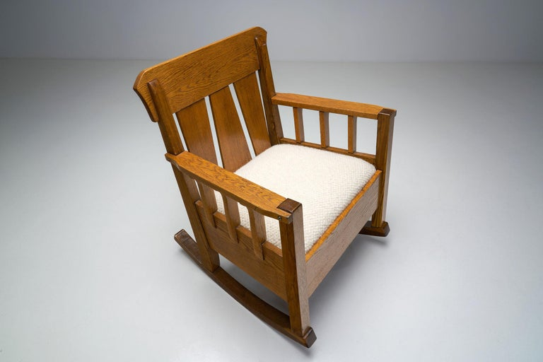 """Oak """"Jugend"""" Rocking Chair, Europe, circa 1920s For Sale 1"""