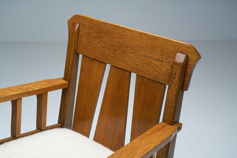 """Oak """"Jugend"""" Rocking Chair, Europe, circa 1920s For Sale 2"""