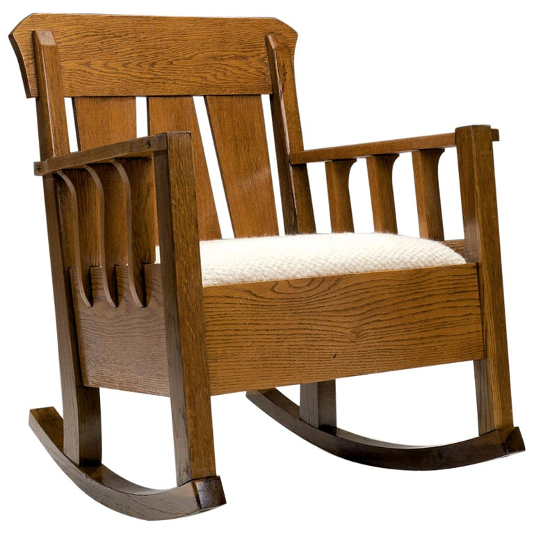"""Oak """"Jugend"""" Rocking Chair, Europe, circa 1920s For Sale"""