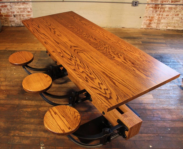 Oak Kitchen Breakfast Table with Attached Swing-Out Seats