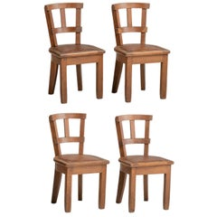 Oak & Leather Small Side Chairs, France, circa 1920