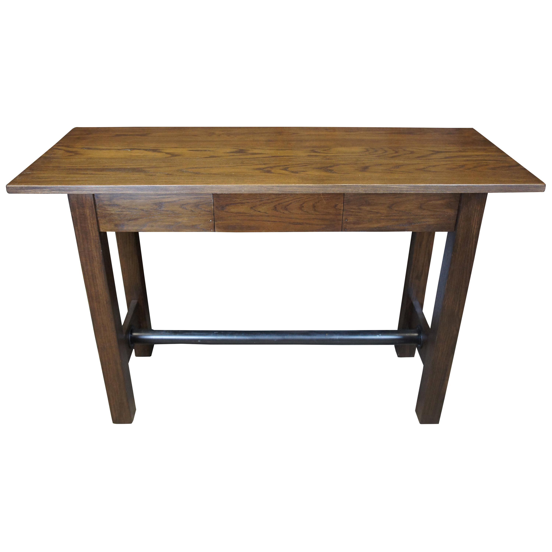 Oak Library Pub Iron Base Trestle Table Industrial Standing Desk Kitchen Island