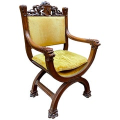 Oak Lions Head Savonarola Chair