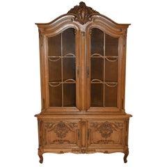 Oak Louis XV Corner Cabinet with Glass Doors, circa 1950