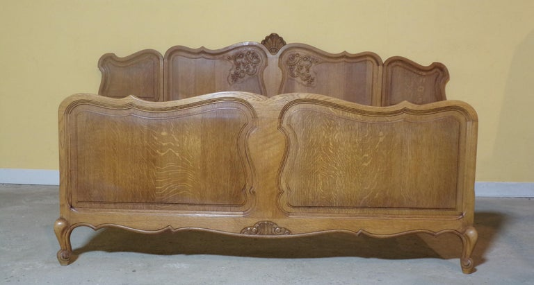 A most unusual French hand carved Double bed with