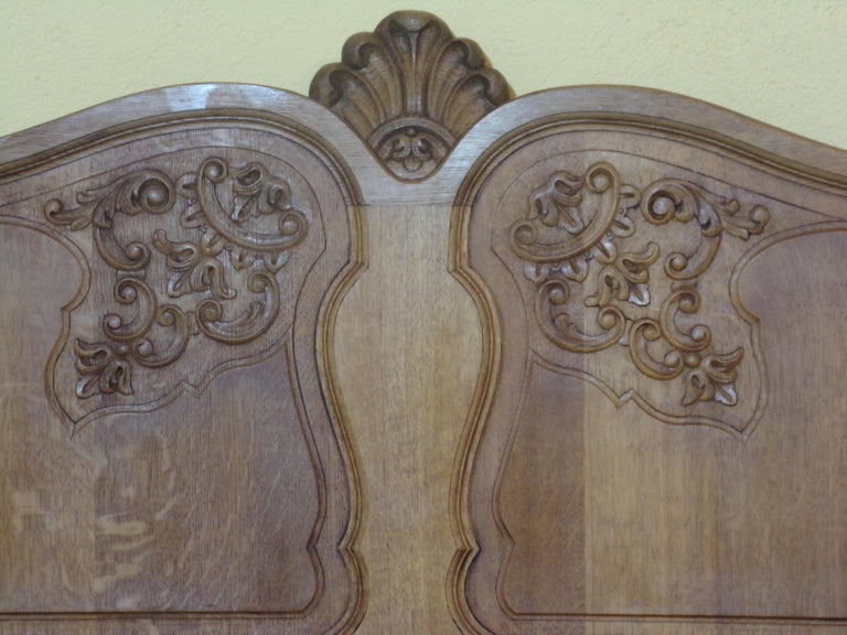 Carved Oak Louis XV Style Double Bed, C1930 For Sale