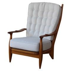 Oak Lounge Chair by Guillerme et Chambron, France, 1960s