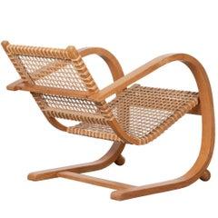 Oak Lounge Chair in the Manner of Bas Van Pelt