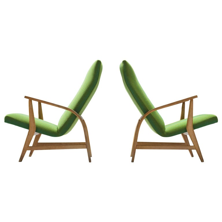 Oak Lounge Chairs in Green Upholstery