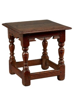 Oak Low Stool, circa 1620-1630