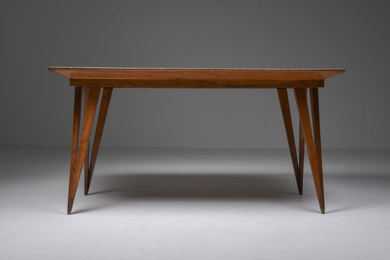 Italian Oak Mid-Century Modern Dining Table on Pin Legs with Blue Top For Sale