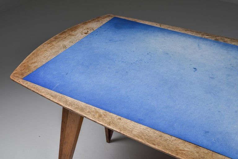 Mid-20th Century Oak Mid-Century Modern Dining Table on Pin Legs with Blue Top For Sale