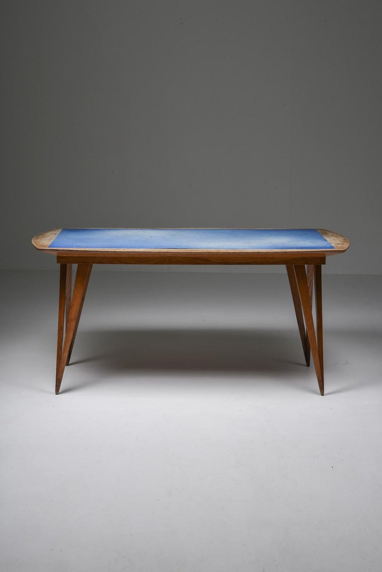 Oak Mid-Century Modern Dining Table on Pin Legs with Blue Top For Sale 1