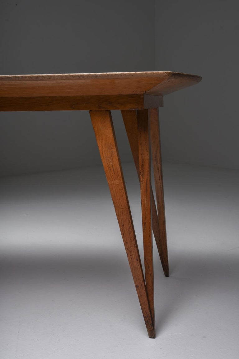 Oak Mid-Century Modern Dining Table on Pin Legs with Blue Top For Sale 2