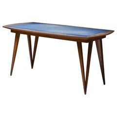 Oak Mid-Century Modern Dining Table on Pin Legs with Blue Top