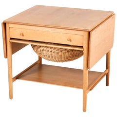 Oak Mid-Century Modern Sewing Table by Hans J Wegner for Andreas Tuck