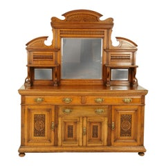 Oak Mirror Back Sideboard, Oak Buffet, Credenza, Victorian, Scotland, 1890