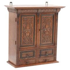 Oak Neo Renaissance Wall Cabinet, 1900s