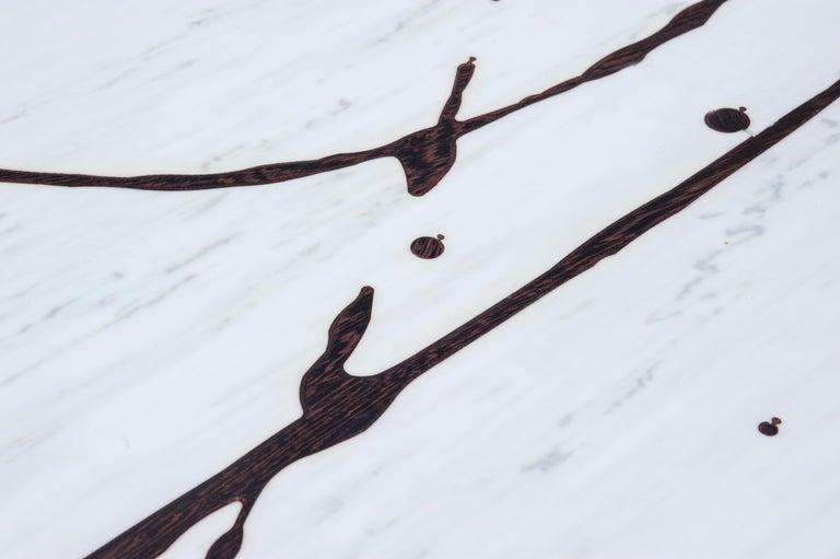 Modern Oak on Marble Splash Coffee Table Sculpted by Francesco Perini For Sale