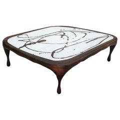 Oak on Marble Splash Coffee Table Sculpted by Francesco Perini