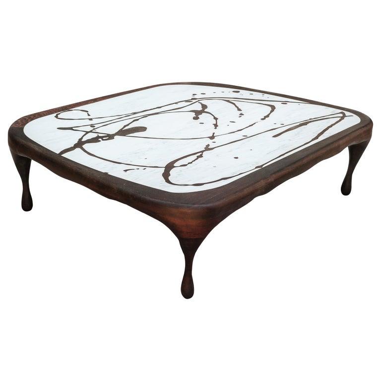 Oak on Marble Splash Coffee Table Sculpted by Francesco Perini For Sale