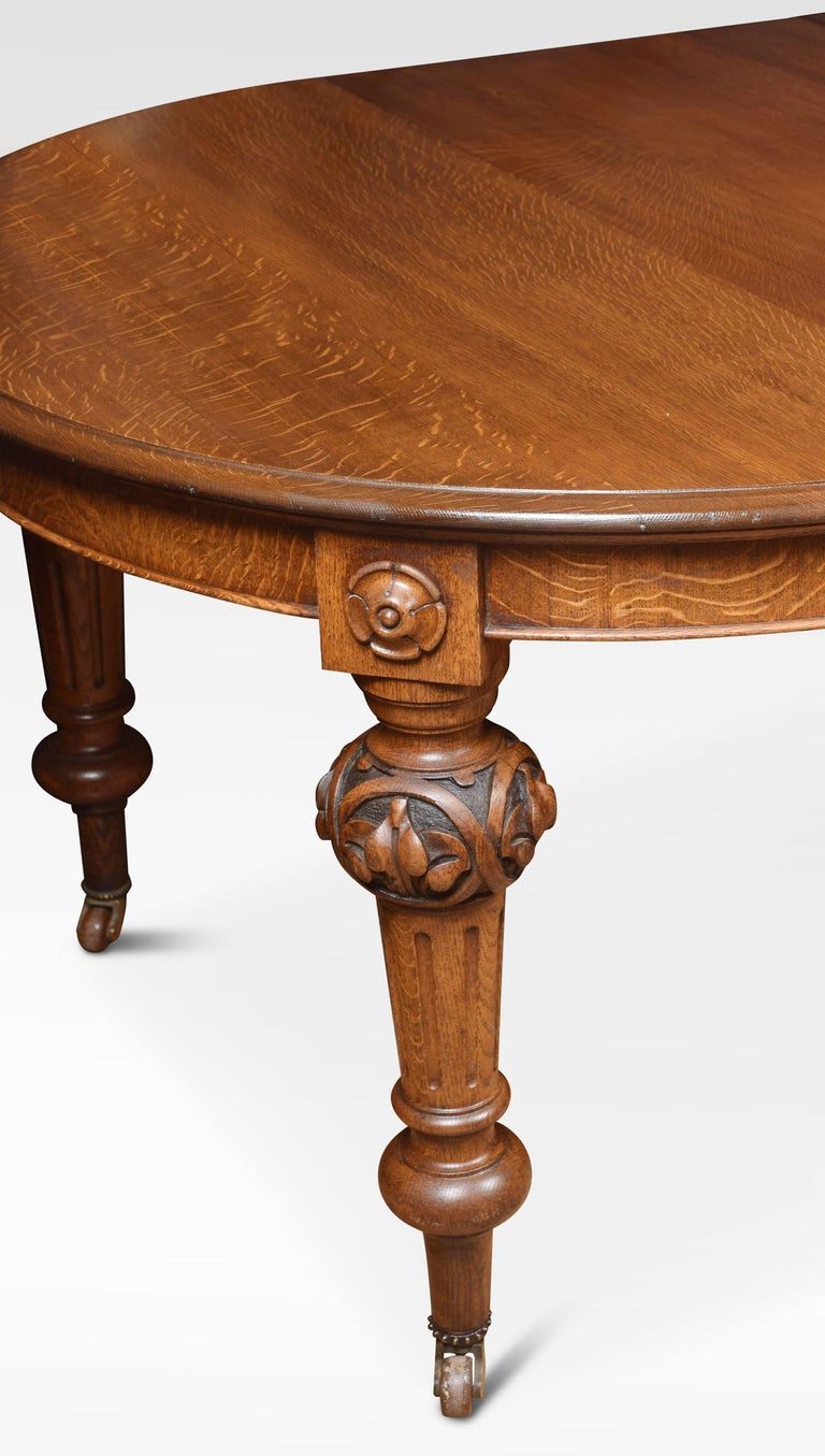 Oak Oval Extending Dining Table For Sale 2