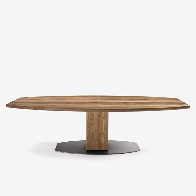 Hand-Crafted Oak Oval T Dining Table For Sale