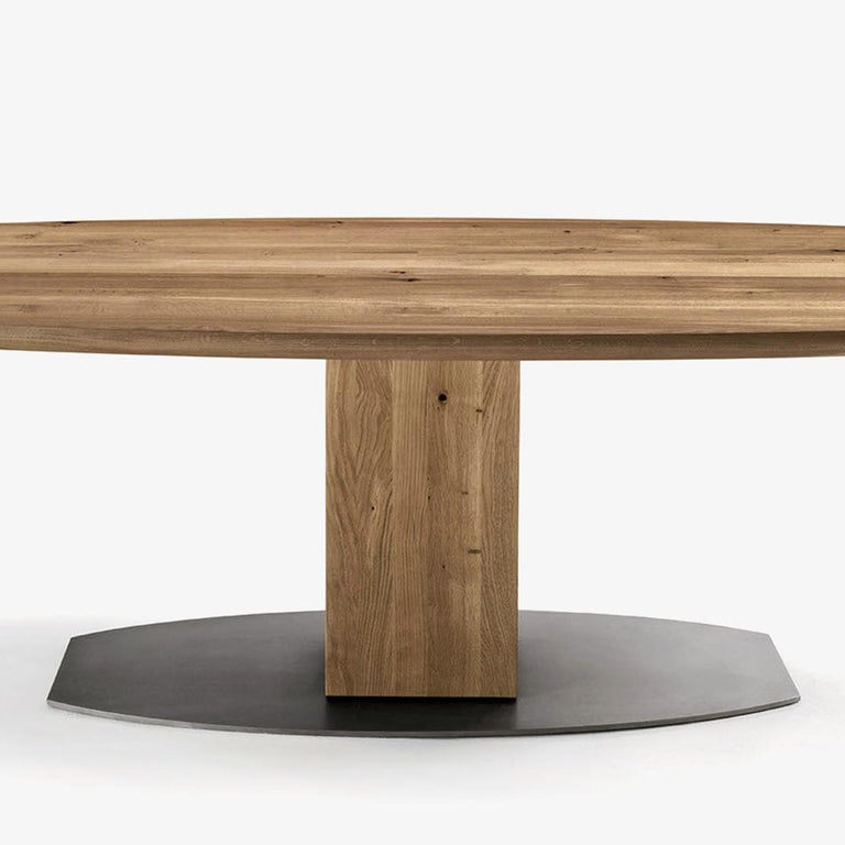 Contemporary Oak Oval T Dining Table For Sale