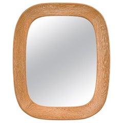 Oak Oval Wall Mirror by Per Argén for Fröseke, Sweden, 1950s