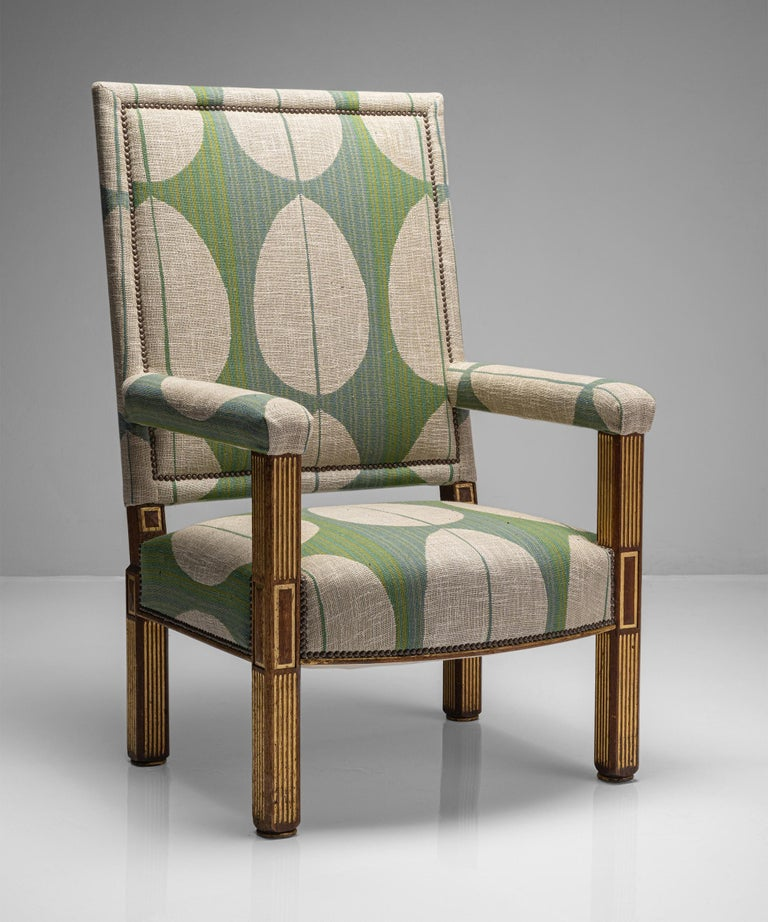 """Oak & parcel gilt armchair England circa 1840  Recently upholstered large scale armchair with oak legs and gilded fluted and paneled detailing.  Measures: 28.25"""" W x 29"""" D x 45.5"""" H x 16.25"""" seat.    $ 6,800."""