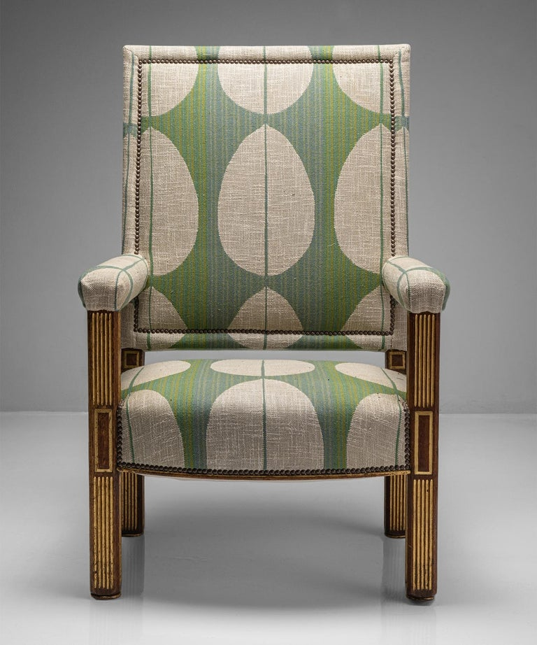 English Oak & Parcel Gilt Armchair, England circa 1840 For Sale