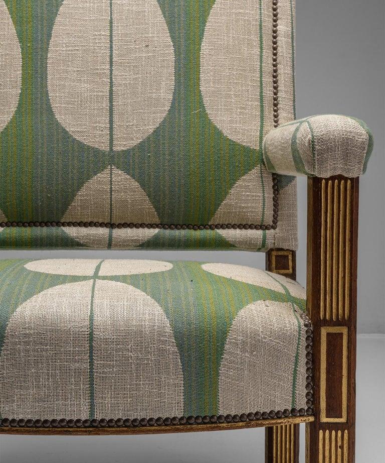 Oak & Parcel Gilt Armchair, England circa 1840 In Good Condition For Sale In Culver City, CA