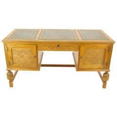 Oak Pedestal Desk, Carved Oak Desk, Leather Top Desk, Scotland 1950, B1166
