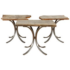Oak Plank Tables with Brushed Steel Bases, 20th Century