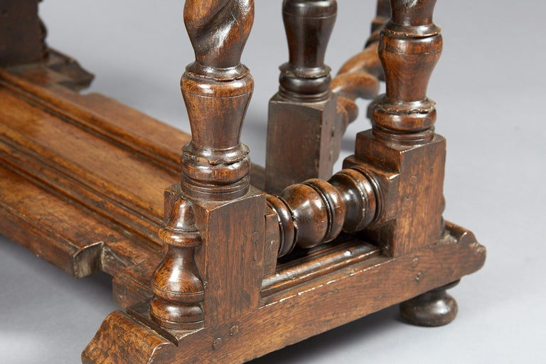 18th Century and Earlier Oak Platform Base Gate Leg Dining Table, Charles II / William & Mary, circa 1680 For Sale