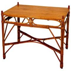Oak & Rattan Occasional / Breakfast Table