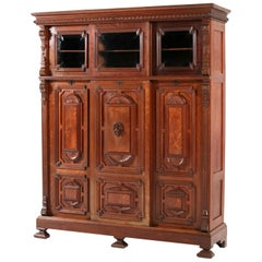 Oak Renaissance Revival Bookcase with Sliding Doors, 1890s