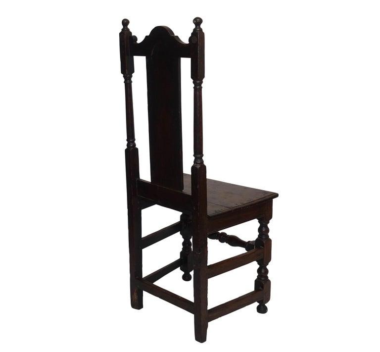 Oak Renaissance Side Chair or Desk Chair, English, circa 1730 For Sale 2